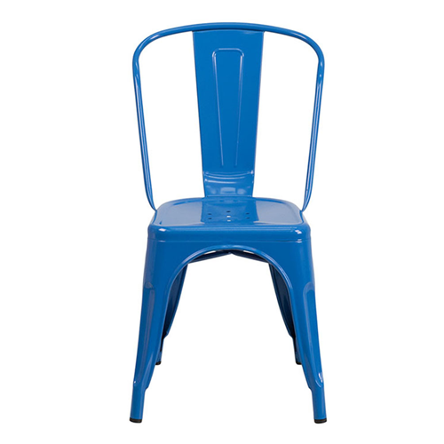 Blue Metal Indoor-Outdoor Stackable Chair [CH-31230-BL-GG]