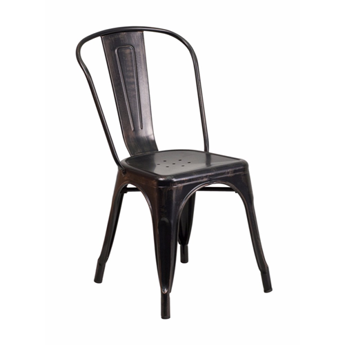 Black-Antique Gold Metal Indoor-Outdoor Stackable Chair [CH-31230-BQ-GG]
