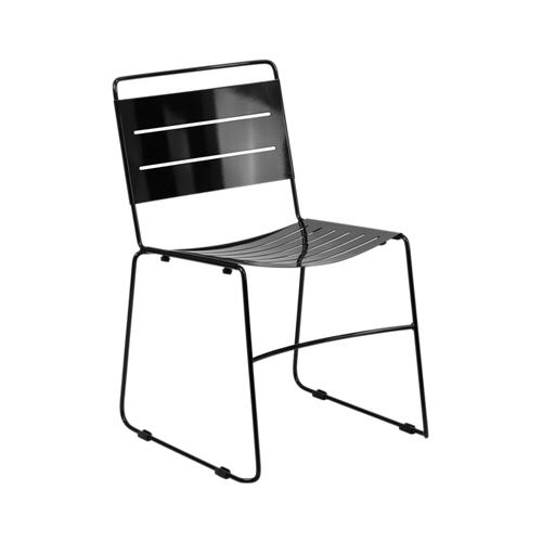HERCULES Series Black Indoor-Outdoor Metal Stack Chair [HA-1-BK-GG]