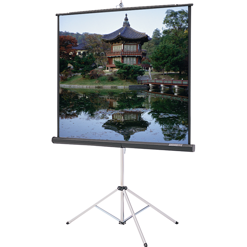 """Da-Lite Picture King With Keystone Eliminator Rugged Tripod Portable Projection Screen 84""""x84"""" Silve"""