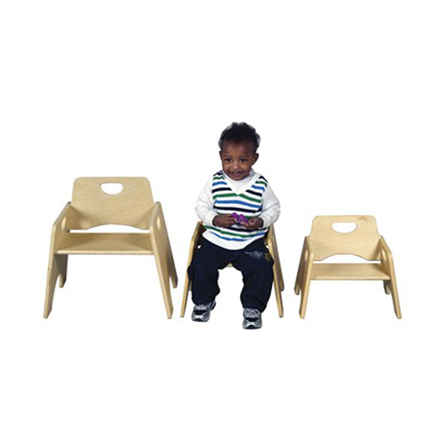 """ECR4Kids 8"""" Stackable Wooden Toddler Chair - RTA, 2 Pack"""