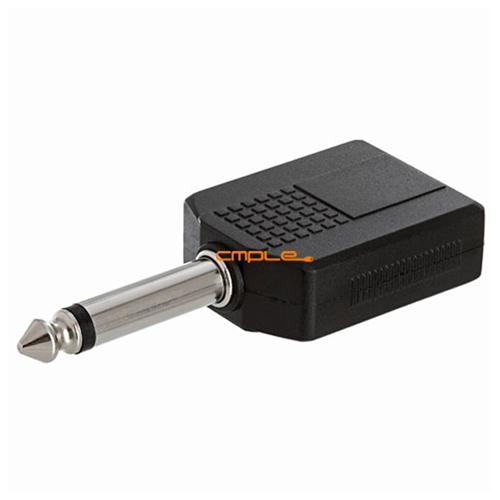 6.35mm Mono Plug to 2x6.35mm Stereo Jack Adapter