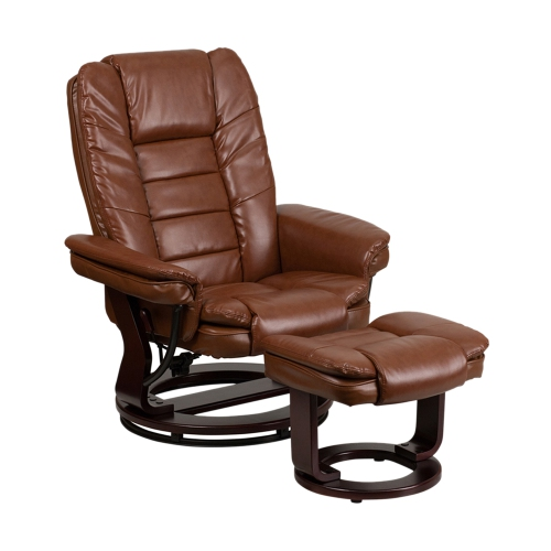 Contemporary Brown Vintage Leather Recliner And Ottoman With Swiveling Mahogany Wood Base [BT-7818-VIN-GG]
