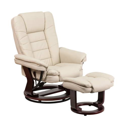 Contemporary Beige Leather Recliner And Ottoman With Swiveling Mahogany Wood Base [BT-7818-BGE-GG]