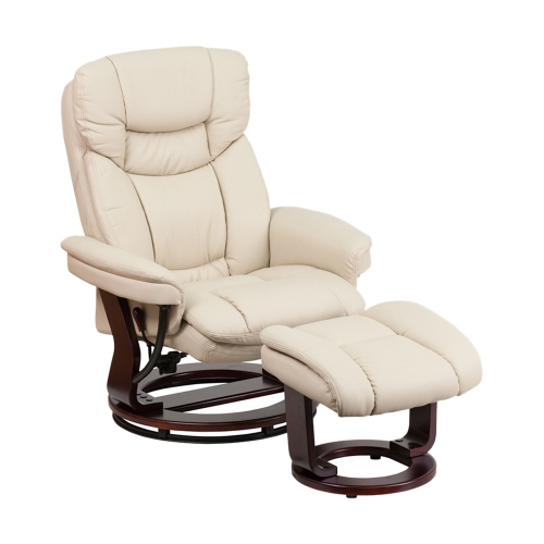 Contemporary Beige Leather Recliner And Ottoman With Swiveling Mahogany Wood Base [BT-7821-BGE-GG]