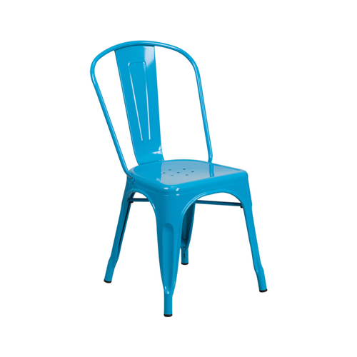 Crystal Blue Metal Indoor-Outdoor Stackable Chair