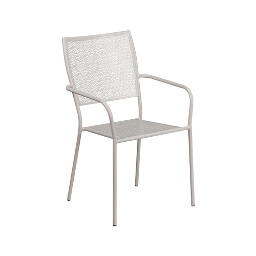 d8743a2fd3ad Flash Furniture Light Gray Indoor-Outdoor Steel Patio Arm Armchair with  Square Back - Light Grey - Online Only