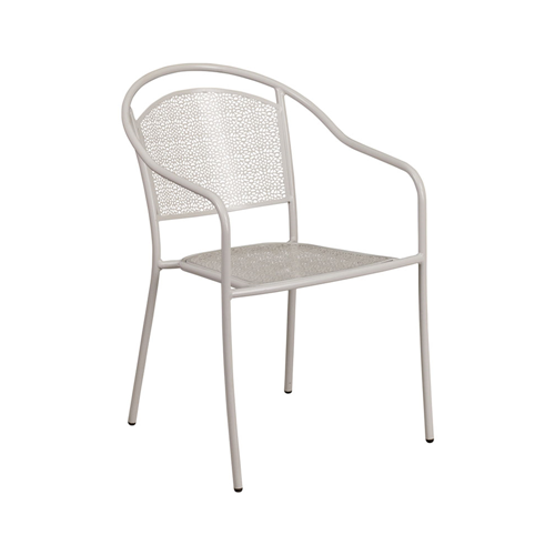 e16f8cc012fe Flash Furniture Light Gray Indoor-Outdoor Steel Patio Arm Armchair with  Round Back - Light Grey - Online Only