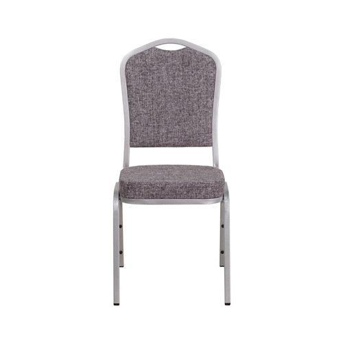 HERCULES Series Crown Back Stacking Banquet Chair with Herringbone Fabric and 2.5'' Thick Seat - Silver Frame
