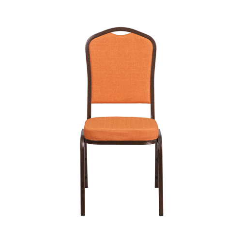 HERCULES Series Crown Back Stacking Banquet Chair with Orange Fabric and 2.5'' Thick Seat - Copper Vein Frame