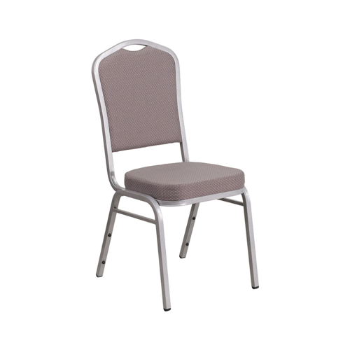 Flash Furniture Hercules Series Crown Back Stacking Banquet Chair with Gray Dot Fabric and 2.5'' Thick Seat - Silver Frame - Grey