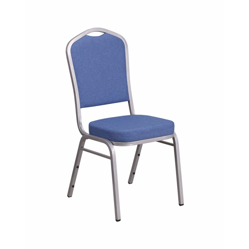 HERCULES Series Crown Back Stacking Banquet Chair with Blue Fabric and 2.5'' Thick Seat - Silver Frame