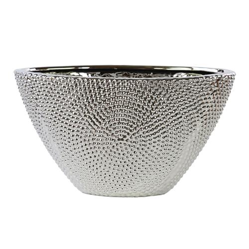 Stoneware Elliptical Tapered Vase Beaded Chrome Finish Silver