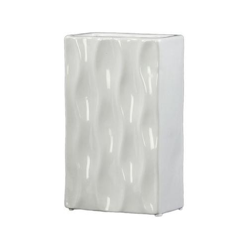 Ceramic Rectangular Vase Small Gloss Finish White Vases Best Buy