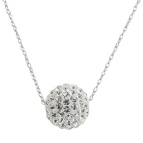 a553750195 10mm Crystal Ball Pendant in 10K White Gold with Swarovski Crystals on an  18