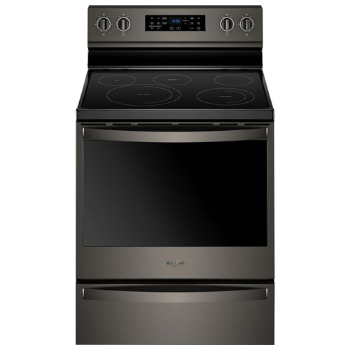 """Whirlpool 30"""" 6.4 Cu. Ft. Fan Convection 5-Element Electric Range - Black Stainless"""