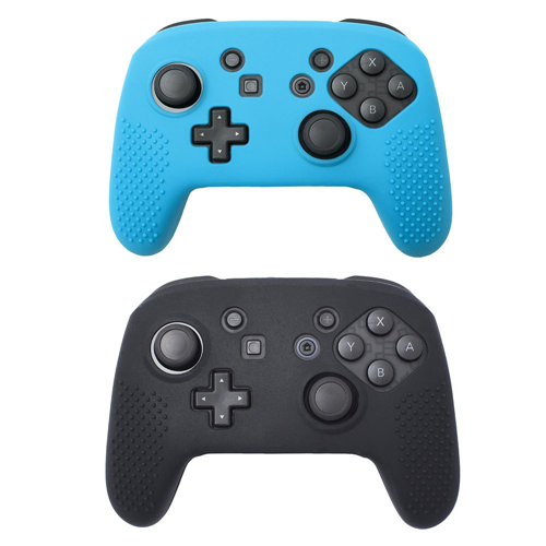 Insten 2-pack Black/Blue Non-slip Grip Silicone Skin Case Cover for Nintendo Switch Pro Controller