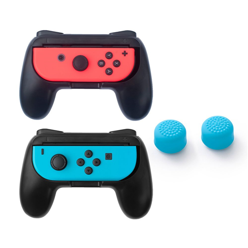 Insten Black 2-pack Joy-Con Controller Grip Anti Slip Case + 2x Cap Style 1 Blue for Nintendo Switch