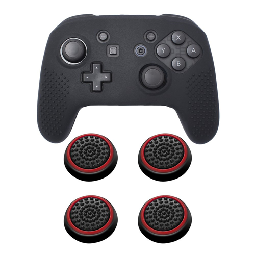 Insten Black Controller Grip Silicone Case + 4x Thumbstick Cap Black/Red for Nintendo Switch Pro