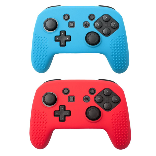 Insten 2-pack Red/Blue Non-slip Grip Silicone Skin Case Cover for Nintendo Switch Pro Controller