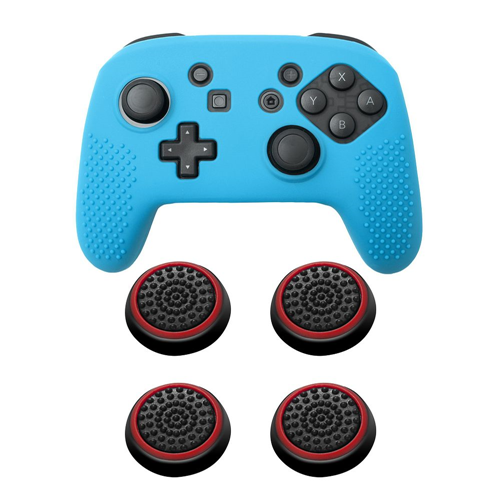Insten Blue Controller Grip Silicone Case + 4x Thumbstick Cap Black/Red for Nintendo Switch Pro
