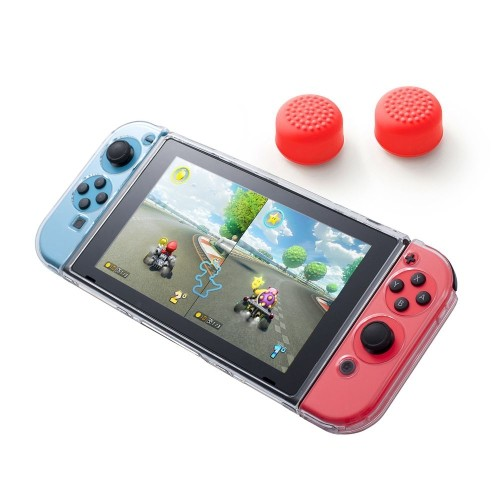 Insten Fully Protected Clear Crystal Case + Thumbstick Cap Style 1 Red [2pcs] for Nintendo Switch