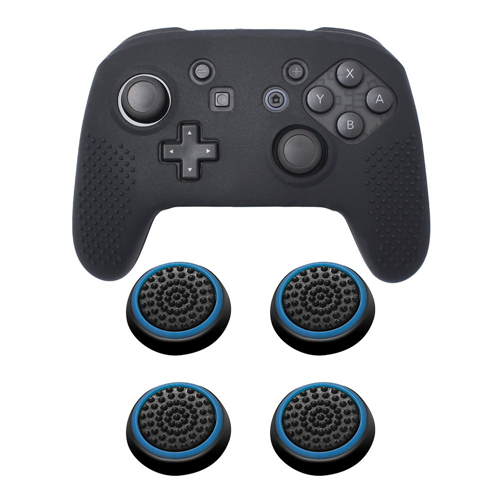 Insten Black Controller Grip Silicone Case + 4x Thumbstick Cap Black/Blue for Nintendo Switch Pro