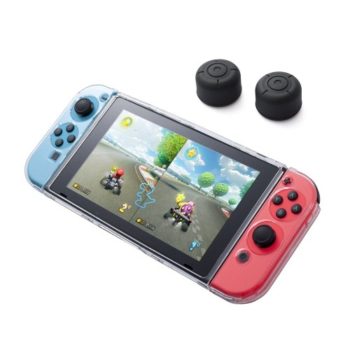 Insten Fully Protected Clear Crystal Case + Thumbstick Cap Style 2 Black [2pcs] for Nintendo Switch