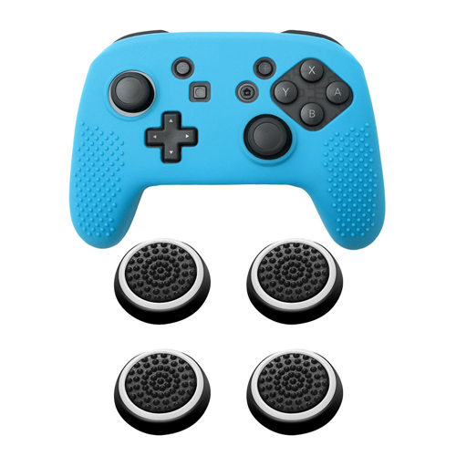 Insten Blue Controller Grip Silicone Case + 4x Thumbstick Cap Black/White for Nintendo Switch Pro