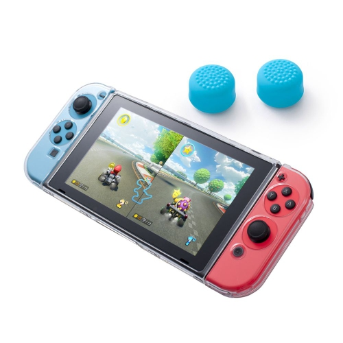 Insten Fully Protected Clear Crystal Case + Thumbstick Cap Style 1 Blue [2pcs] for Nintendo Switch