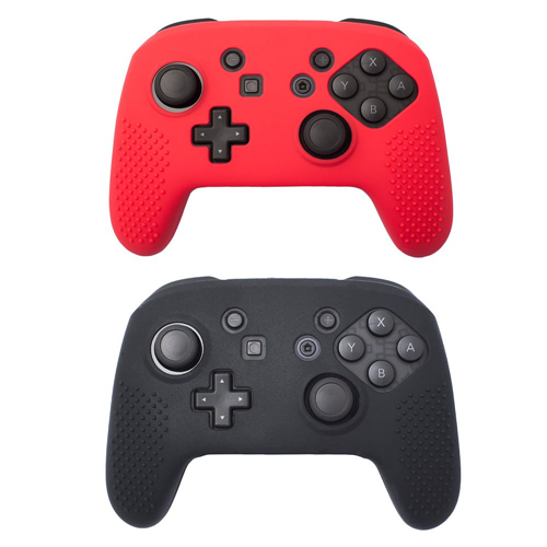 Insten 2-pack Black/Red Non-slip Grip Silicone Skin Case Cover for Nintendo Switch Pro Controller