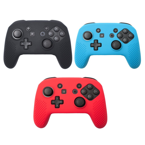 Insten 3-pack Black/Red/Blue Controller Non-slip Grip Silicone Skin Case for Nintendo Switch Pro