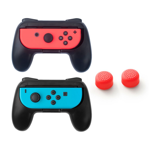 Insten Black 2-pack Joy-Con Controller Grip Anti Slip Case + 2x Cap Style 1 Red for Nintendo Switch