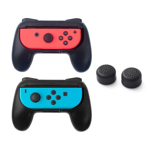 Insten Black 2-pack Joy-Con Controller Grip Anti Slip Case + 2x Cap Style1 Black for Nintendo Switch