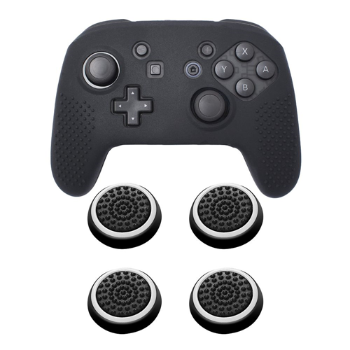 Insten Black Controller Grip Silicone Case + 4x Thumbstick Cap Black/White for Nintendo Switch Pro