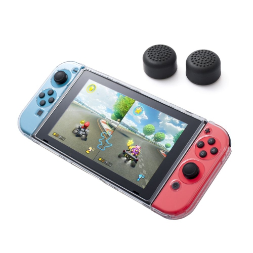 Insten Fully Protected Clear Crystal Case + Thumbstick Cap Style 1 Black [2pcs] for Nintendo Switch