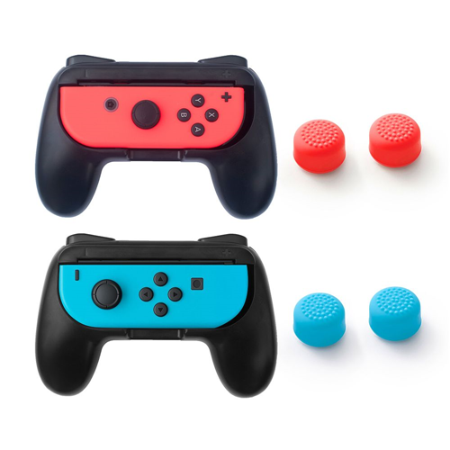 Insten Black 2-pack Joy-Con Grip Anti Slip Case + 4x Cap Style 1 Red/Blue for Nintendo Switch