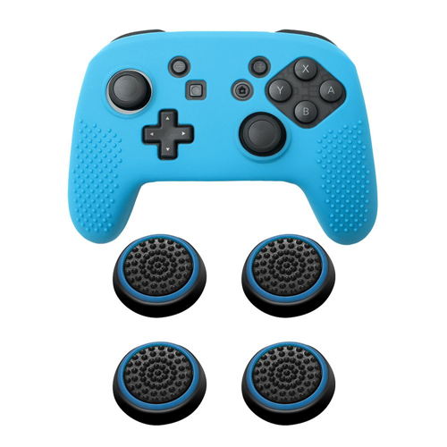 Insten Blue Controller Grip Silicone Case + 4x Thumbstick Cap Black/Blue for Nintendo Switch Pro