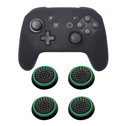 Insten Black Controller Grip Silicone Case + 4x Thumbstick Cap Black/Green for Nintendo Switch Pro