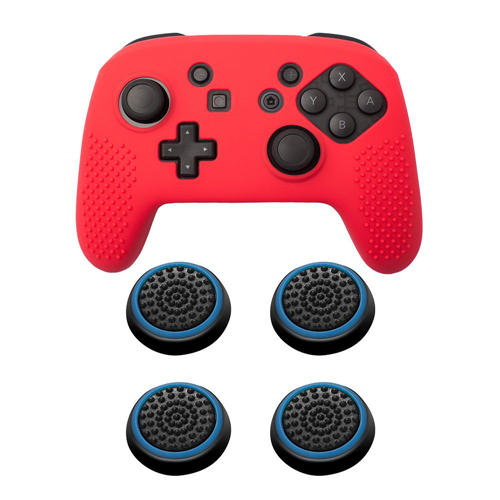 Insten Red Controller Grip Silicone Case + 4x Thumbstick Cap Black/Blue for Nintendo Switch Pro