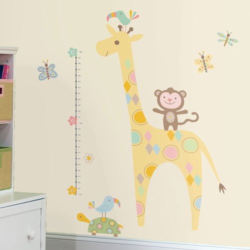 Roommates Tribal Baby Animal Growth Chart Peel Stick Wall Decals