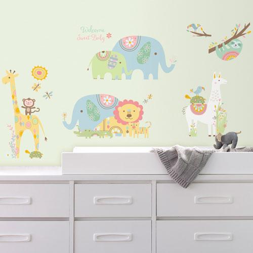 roommates tribal baby animals peel & stick wall decals : nursery