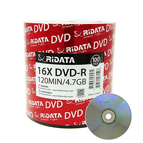 RIDATA/RITEK DVD-R4.7GB/120MIN 16X ECO Full Logo (Branded) Silver Matte Surface 100pcs Bulk Red OPP Wrap