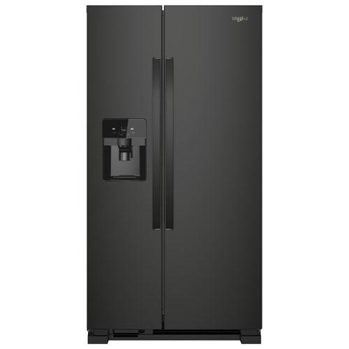 Réfrigérateur côte à côte 21,2 pi³ 33 po/distributeur eau/glaçons de Whirlpool - Noir
