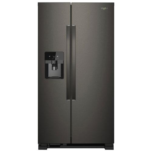 Réfrigérateur côte à côte 24,5 pi³ 36 po, distr. eau/glaçons de Whirlpool - Inox noir