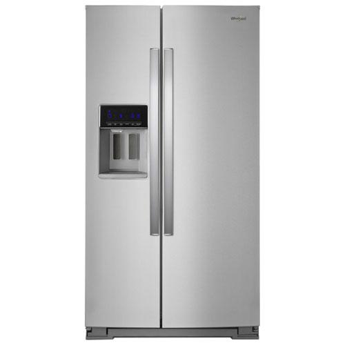 Réfrigérateur côte à côte 28,5 pi³ 36 po, distributeur eau/glaçons de Whirlpool - Inox