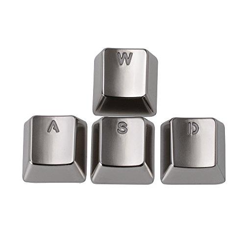 AGPtek Keyset Zinc Transparent WASD 4 Key Caps Cherry MX Keycap for Metal Mechanical Keyboard