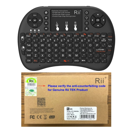 mini keyboard Rii Mini i8+ 2.4G Wireless Keyboard with Touchpad for PC Pad Google Andriod TV Box Black