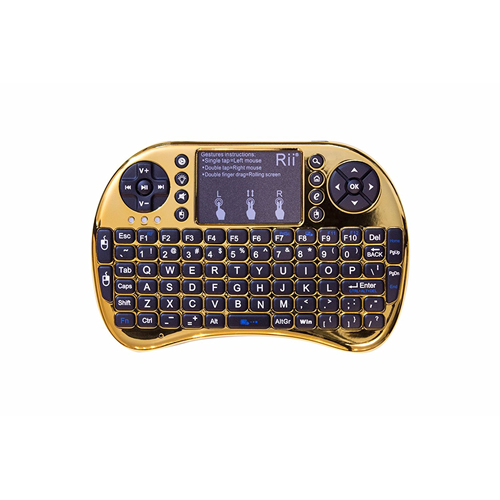mini keyboard Rii Mini i8+ 2.4G Wireless Keyboard with Touchpad for PC Pad Google Andriod TV Box Chrome Gold