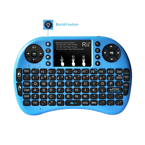 mini keyboard Rii Mini i8+ 2.4G Wireless Keyboard with Touchpad for PC Pad Google Andriod TV Box Blue